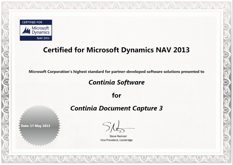 Document Capture Certified For Microsoft Dynamics Nav 2013